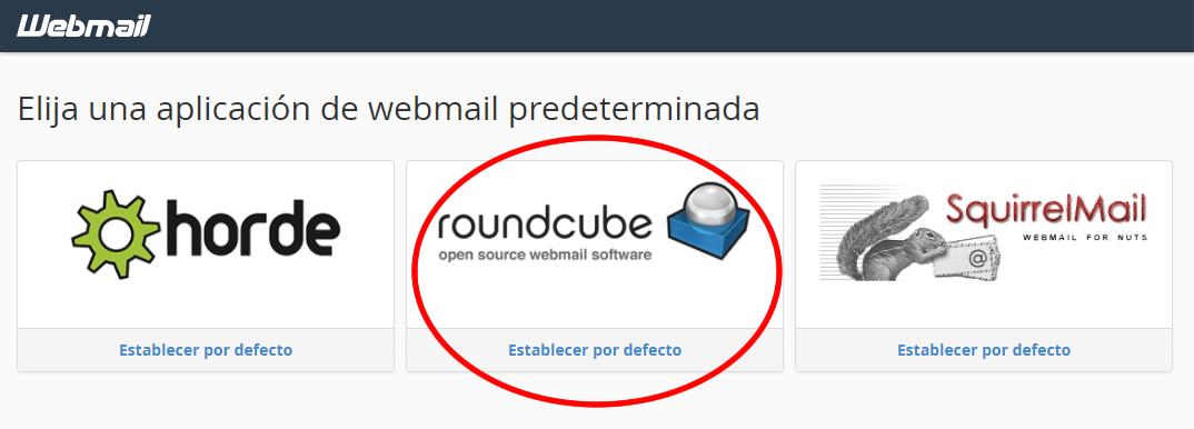 establecer roundcube como prederminado